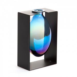 Vaza albastra din sticla cu suport metal 25 cm Aldara Large La Forma