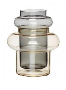 Vaza bej nisipiu/gri din sticla 22 cm Carly Hubsch