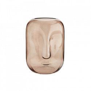 Vaza roz din sticla 25 cm Face Madam Stoltz