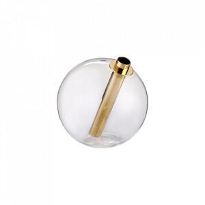 Vaza transparenta/maro din sticla si alama 15,4 cm Solitaire Bolia
