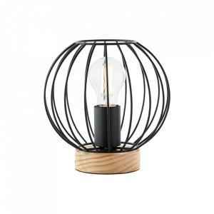 Veioza neagra/maro din lemn si metal 17 cm Sorana Brilliant