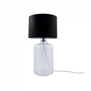 Veioza neagra/transparenta din textil si sticla 41 cm Samasun Zuma Line