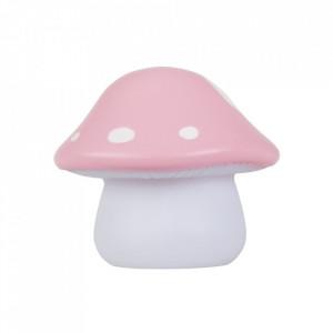 Veioza roz/alba din PVC cu LED 10 cm Mushroom A Little Lovely Company