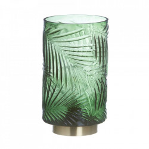 Veioza verde din sticla si metal 20 cm Leaf Ixia