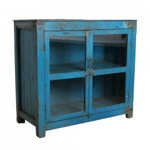 Vitrina albastra din lemn si sticla 105 cm Ghusa Raw Materials