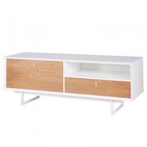 Comoda TV alba/maro din lemn de stejar si MDF 165 cm Porto Somcasa