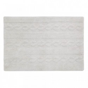 Covor dreptunghiular gri din bumbac 80x120 cm Braids Pearl Grey Small Lorena Canals