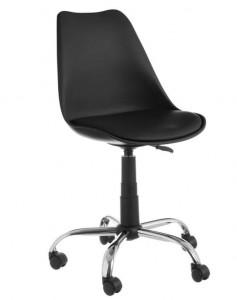 Scaun ajustabil negru din piele ecologica pentru birou Lola Black Unimasa