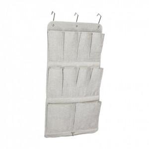 Organizator gri din textil pentru usa Grey Hubsch