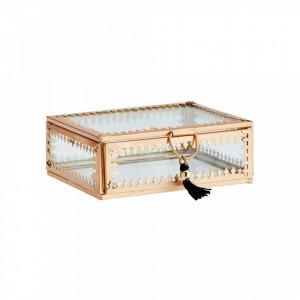 Cutie pentru bijuterii din fier si sticla Martina Ale Gold Madam Stoltz