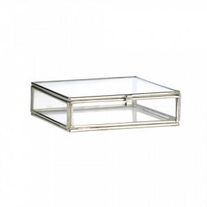 Cutie pentru bijuterii din fier si sticla Bryna Silver Madam Stoltz