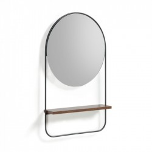 Oglinda rotunda neagra din lemn si metal 37x59 cm Marcolina La Forma