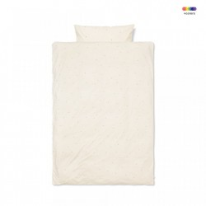 Lenjerie de pat crem din bumbac 140x200/60x63 cm Dot Off White Ferm Living