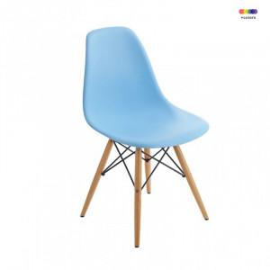 Scaun dining albastru din lemn si polipropilena Manila Blue Malo Design