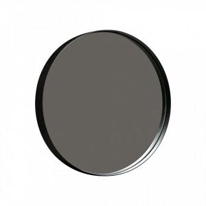 Oglinda rotunda neagra din metal 50 cm Doutzen Woood