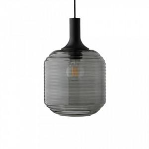 Lustra neagra din sticla si lemn Honey Frandsen Lighting