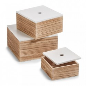 Set 3 cutii maro/albe din lemn Paulowina Zeller