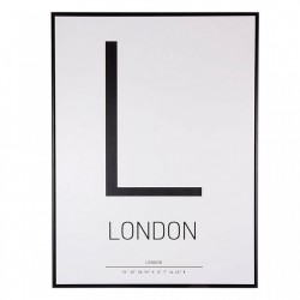 Tablou alb/negru din MDF si polistiren 60x80 cm L Letter Somcasa