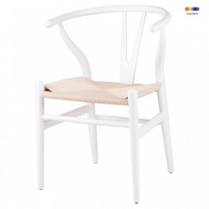 Scaun dining alb din lemn Ada White Somcasa