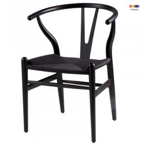 Scaun dining negru din lemn Ada Black Somcasa