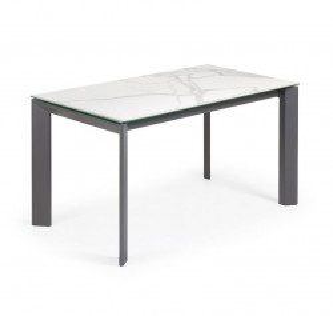 Masa dining extensibila dreptunghiulara gri/alba din otel si portelan 90x(140)200 cm Atta Kalos La Forma
