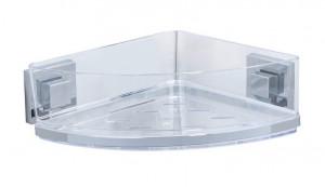 Raft argintiu/transparent din inox si plastic 19,5x28 cm pentru baie Vacuum-Loc Corner Rest Quadro Wenko