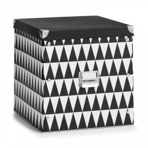 Cutie cu capac neagra/alba din carton Triangle Four Zeller