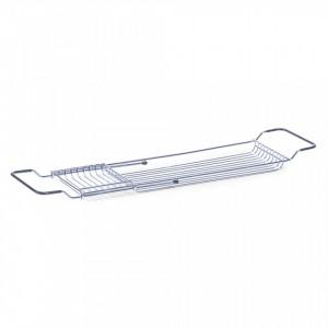 Raft extensibil argintiu din metal 4x76,5 cm pentru cada Bathtub Shelf Zeller