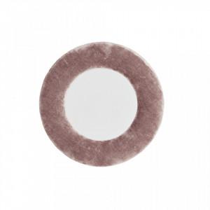 Oglinda rotunda bej perla din catifea 30 cm Round Randy Madam Stoltz