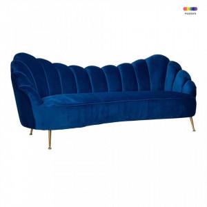 Canapea albastra/aurie din catifea si inox pentru 3 persoane Cosette Richmond Interiors