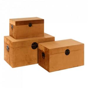 Set 3 cutii cu capac maro din MDF si poliester Foxes Ixia
