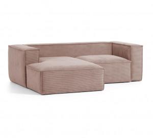 Canapea roz din textil si lemn cu colt pentru 2 persoane Blok La Forma