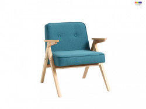 Fotoliu albastru din poliester si lemn Vinc Sea Breeze Custom Form