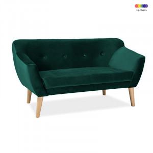 Canapea verde din catifea si lemn 139 cm Bergen Signal Meble