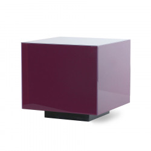 Masuta mov/neagra din sticla si MDF 40x40 cm pentru cafea Purple Block HK Living