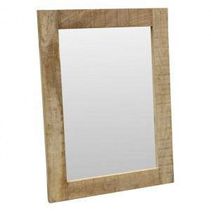 Oglinda dreptunghiulara maro din lemn de mango si sticla 60x80 cm Harry Raw Materials