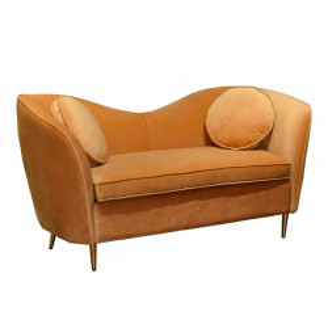 Canapea galbena din catifea si lemn de fag 165 cm Hart Santiago Pons