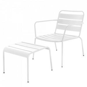 Set scaun si scaunel pentru picioare albe din otel pentru exterior Vega White Unimasa