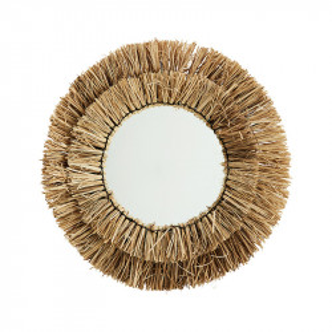Oglinda rotunda maro din iarba naturala si sticla 52 cm Tanja Madam Stoltz