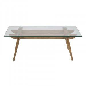Masa transparenta/maro din lemn si sticla pentru cafea 60x110 cm Taxi Actona Company