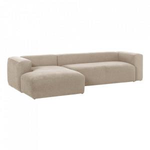 Canapea bej din fibre acrilice si lemn de pin cu colt pentru 3 persoane Blok Left La Forma