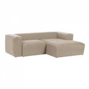 Canapea bej din fibre acrilice si lemn de pin cu colt pentru 2 persoane Blok Right La Forma