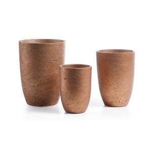 Set 3 ghivece din ciment cupru Lux La Forma