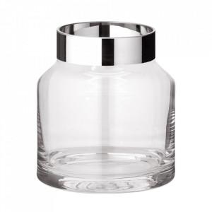Vaza argintie/transparenta din sticla cristal 19 cm Gabi Edzard