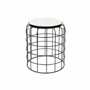 Masuta alba/neagra din terrazzo si metal pentru cafea 36 cm Trad White Label