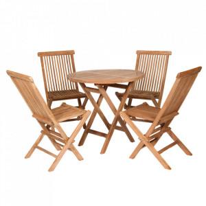 Set 4 scaune si masa dining din lemn de tec pentru exterior Sillas Santiago Pons