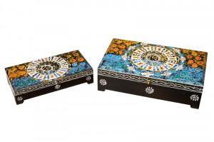 Set 2 cutii cu capac multicolore din lemn pentru bijuterii Lios Giner y Colomer
