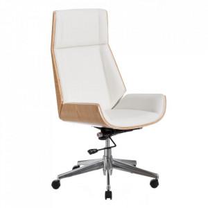 Scaun birou alb/maro din poliuretan si lemn de nuc Yolla High Ixia