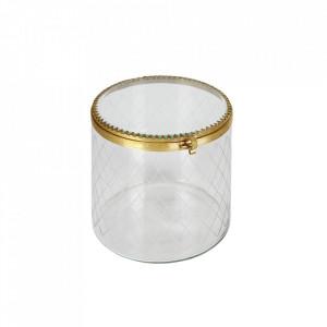 Cutie cu capac din metal si sticla pentru bijuterii Too Be Pure Home