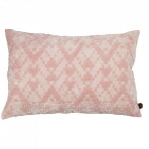 Perna decorativa dreptunghiulara roz din bumbac 40x60 cm Cross Be Pure Home